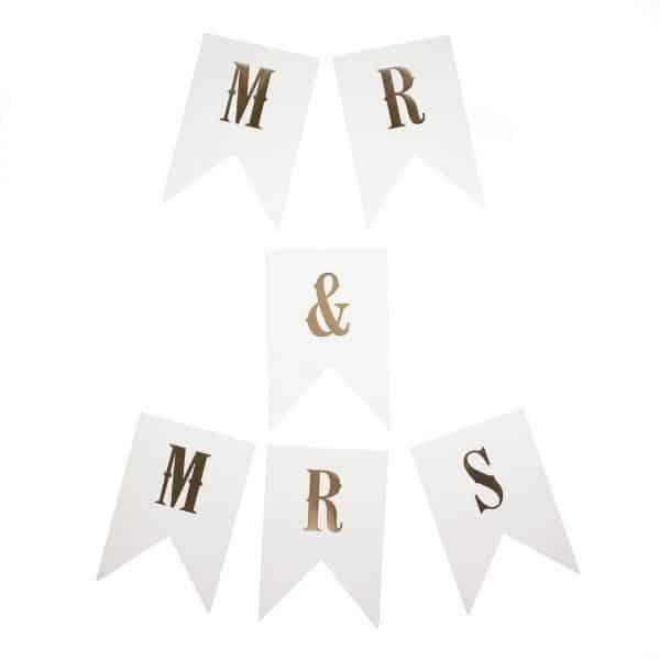 """Guirnalda """"Mr & Mrs"""" """"I Do"""" dorado de 270cm - Guirnaldas y abanicos Boda"""
