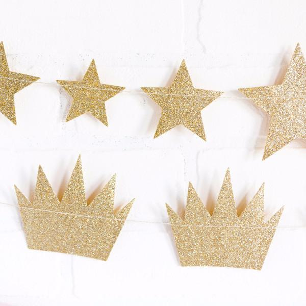 "Guirnalda ""Princesas"" coronas glitter dorado de 200cm - Guirnaldas y abanicos Boda"